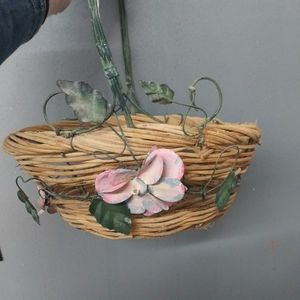 Celebration's Whicker Basket with metal Flowers